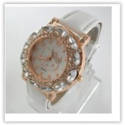Detské hodinky Hello Kitty s diamantmi - biele