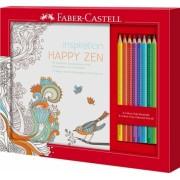 Set cadou Happy Zen 8 creioane colorate Grip si carte colorat Faber-Castell