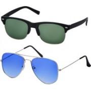 Freny Exim Aviator, Clubmaster Sunglasses(Green, Blue)