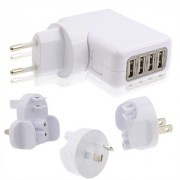 4 USB Travel Charger with 4 Easy Travel Interchangeable Plugs for iPad Air 2 & Air & 4 New iPad (iPad 3) / iPad 2 / iPad iPhone 6 & 6 Plus & 5 & 5S & 4 & 4S Mobile Phone White(White)