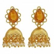 Maayra Flower Pearls Earrings Golden White Jhumki Wedding Festival Jewellery