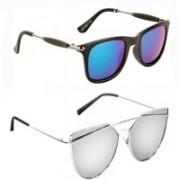 Elgator Wayfarer, Over-sized Sunglasses(Green, Silver)
