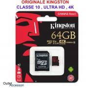 Memoria Memory Card Micro SDXC SD 64gb KINGSTON Canvas React Classe 10 4K HD Originale