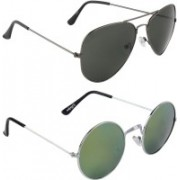 Zyaden Aviator, Round Sunglasses(Black, Multicolor)
