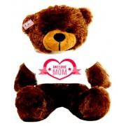 2 feet big brown teddy bear wearing Awesome Mom T-shirt