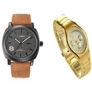 Curren Brown Men And Rosra Gold Ledish Watches For Men Women