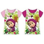 Masha and the bear kortärmad T-shirt (Lila, 5 ÅR - 110 CM)