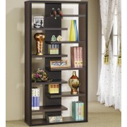 "35"" wide stepped espresso finish wood book shelf wall unit modern style"