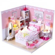 ELECTROPRIME DIY Pink Doll House Miniature Kit w Cover Dream Love Bedroom Room Doll House