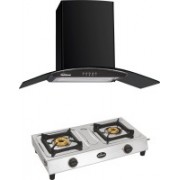 Sunflame CHIMNEY BELLA WITH 2 BURNER SHAKTI Wall Mounted Chimney(BLACK 1100 CMH)