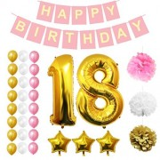"""18th Happy Birthday Party Balloons, Supplies & Decorations by Belle Vous - 32 Pc Set - Large 18 Years Foil Balloon 12"""" Gold, White and Pink Latex Balloon Decoration - Decor Suitable for Teenagers"""