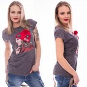 V&V Dámské tričko s módní aplikací CAP - tmavě šedé (L / XL) - V&V