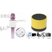 Mirza Q7 Portable Wireless Karaoke Microphone Handheld Condenser Microphone Inbuilt Speaker Microphone and bluetooth speaker (S10 Speaker Wireless LED Bluetooth Speaker S10 Handfree with Calling Functions & FM Radio Assorted Colour)for SAMSUNG GALAXY S