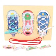 FunBlast Wooden Tie Shoes Lace Tying Board Learn to Tie Your Shoe Laces Wooden Puzzle Peg Board Educational Toys for Kids