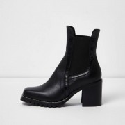 River Island Womens Black leather cleated block heel ankle boots