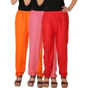 Culture the Dignity Women's Rayon Solid Casual Pants Office Trousers With Side Pockets Combo of 3 - Orange - Baby Pink - Red - C_RPT_OP2R - Pack of 3 - Free Size