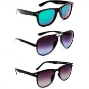 TheWhoop UV Protected Stylish Combo Wayfarer And Aviator Sunglasses For Men Women Boys Girls