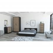 Cama 2 Plazas + Closet 2P + Comoda 5C + Comoda 3C -Tuhome Wengue/Miel