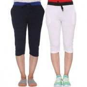 Vimal-Jonney Multicolor Cotton Blended Capris For Women(Pack Of 2)