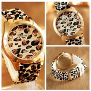 Very New Fashion Clasic leopard Print silicon Quartz Dress watch for Women / Men