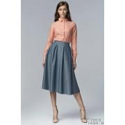 Light Blue Jeans Retro Style Flared Light Pleats Midi Skirt with Pockets