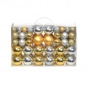 vidaXL Комплект коледни топки от 100 части, 6 см, сребро/злато