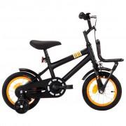 "vidaXL Bicicleta criança c plataforma frontal roda 12"" preto/laranja"