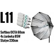 L11 ZESTAW: softbox OCTA 60cm , statyw 230cm, 4x żarówki 85W