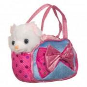 Pisicuta plus alba cu geanta transport roz 22 cm