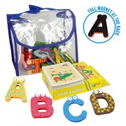 Joy Abc's | 40 Pcs Wooden Refrigerator Alphabet Letters and Numbers Magnets with Flash Card Bonus | Full Magnet...
