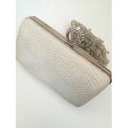 Красива дамска чанта брокат слонова кост с AB ефект за сватба и бал