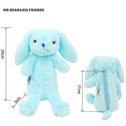 Mr. Bear & His Friends Cute Bunny Plush Animals Rabbit Soft Toys Half-Stuffed Rabbits Dolls Purses Kids Children Toys Openable on the Back - Blue