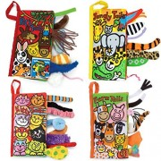 Kemilove Set of 4 Animal Tails Cloth book Baby Toy Cloth Development Books for 3~12 Month