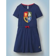 Mini Robe à motif blason de Poudlard NAV Fille Boden, Blue - 9-10a