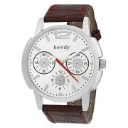 howdy Smart Analog White dial Watch With Leather Strap - For Men's Boys ss507