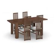 Harveys Hampshire Dark Extending Dining Table & 6 Tall Wooden Chairs in Caramel 6 tall caramel plain chairs, Table Shape: Rectangular
