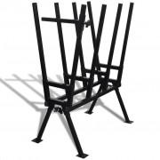vidaXL Černý práškovaný stojan na řezání dřeva
