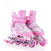 Shreebalaji Toys Inline Skating XL Size Adjustable Skates Shoes for Boys Girls - Skating Shoe Roller Skate (Pink)