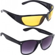 Reyda Rectangular, Wrap-around Sunglasses(Yellow, Violet)