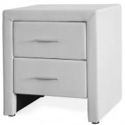Corium® Нощно шкафче, тапицирано с еко кожа, 48 x 42 x 55 cm, Бяло, с 2 чекмеджета