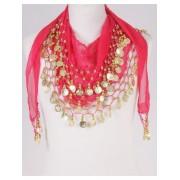 Buikdans muntjes sjaal hard roze/goud
