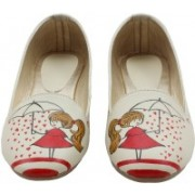LazyBrats Hand Painted Designer Rain, Rain Go Away, Come Again Another Day Customised Bellies For Women(Red)