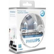 Set 2 becuri auto cu halogen pentru far Philips H7 12V 55W PX26d White Vision