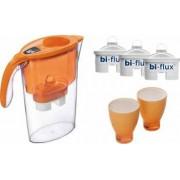 Pachet Laica Cana de filtrare a apei Stream 2.3 L Portocaliu + 3 Filtre Bi-Flux + 2 Pahare de colectie