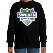 Bellatio Decorations Zweden / Sweden schild supporter sweater zwart voor kids