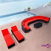 vidaXL 13-dijelna vrtna garnitura od poliratana s jastucima crvena