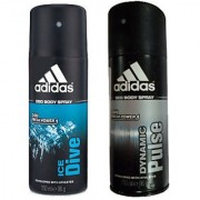 Adidas Deodorants Ice Dive and Dynamic Pulse Of 150 ML Each (Set of 2) For Men