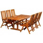 Set mobilier gradina pliabil EVA lemn cu masa extensibil 160/210x80x73 culoare teak