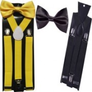 Swarn Y- Back Suspenders for Men(Black, Yellow)