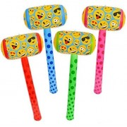 Emoji Inflatable Set- 4pc 36 Hammer/Mallet style . Fun for childrens party , outdoor celebrations, pool parties, and more!